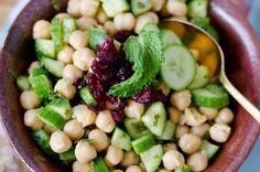 an Ayurvedic cooling and refreshing Garbanzo bean salad (flavors: cumin, mint, and cucumber) with Hibiscus Tea (vegan, gluten free)