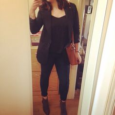 Black cami, blazer, rolled up skinny jeans, suede boots and gold jewellery