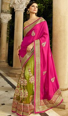 Redefine ethnic stylishness in this pink and green color embroidered net georgette half n half sari. The lace, stones and resham work appears to be chic and excellent for any function. #eveningsaree #casualsarees #motiworksari