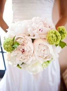 peony bridal.  I love that the bride wasn't afraid of a big bouquet!  I also love the bit of red inside the peonies.  Fiesta may be the variety?
