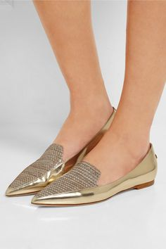 Jimmy Choo   Guild mirrored-leather and woven lamé point-toe flats   NET-A-PORTER.COM