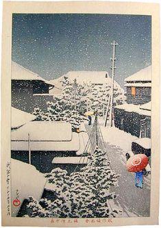 Kawase Hasui (1883-1957): Snow at Daichi, woodblock print, 1925. SOLD.