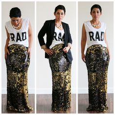 Sequin maxi skirt with graphic tee and blazer.