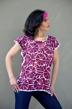 Vibrant Mexican Burgundy Hand Embroidered Dress / by Vtgantiques