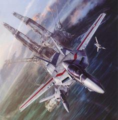 "Valkyries on patrol after Macross splashdown, by Tenjin Hidetaka from his excellent book ""Valkyries Second Sortie - Art Works of Macross"" [2000x2039]"