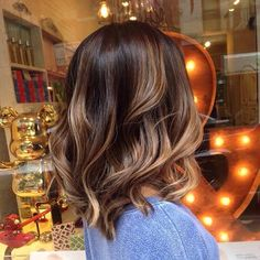 Long Bob Haircut + Caramel and Chocolate Balayage Highlights