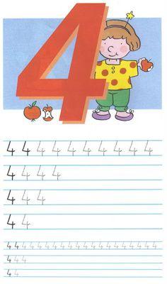 schrijfoefening 4 Numbers Preschool, Kindergarten Writing, Preschool Math, Activities For Kids, Phonics Song, Alphabet Phonics, Kids Learning Alphabet, Baby Learning, College Crafts