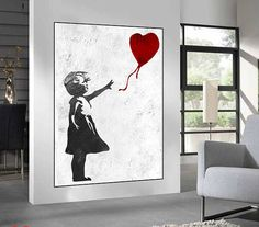 Huge Large Canvas prints add a unique touch to your home. Modern, stylish and unique design will be the most special piece of your decor. Especially for those who like abstract works, black and white acrylic painting can be prepared in desired sizes extra large wall art, Banksy Red Balloon Girl, large abstract painting on canvas, original abstract Painting, Banksy Graffiti Art 16x24 (40x60cm) $75 20x30 (50x76cm) $110 30x40 (76x102cm) $180 36x48(92x122cm) $240 40x53.5(102x136cm) $310…