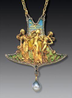 Emmanuel Jules Joseph [Joé] Descomps (1872-1948). The Three Graces pendant. C. 1900. Gold, plique-à-jour enamel, diamond, pearl. s.l.