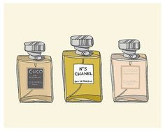 Chanel Perfume Lover Fashion Illustration Art Print Listing for one print of an original ink drawing with digital coloring of three classic bottles Coco Chanel, Chanel Mademoiselle, Chanel Art, Chanel No 5, Perfume Chanel, Rebel, Smell Good, Perfume Bottles, Illustration Art