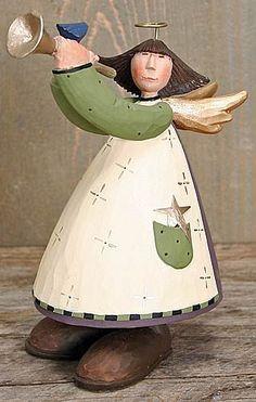 Angel With Horn in Purple Dress Figurine – Christmas Folk Art & Holiday Collectibles – Williraye Studio $8.75
