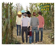"""They Ate a Treat to Steel Themselves for the Corn Maze…Fortunately There Were Maps & Lewis Had His Portable GPS…the Little Girls Ran Ahead, Giggling & Shouting, 3 Gals Went Next, With Trepidation of Lost Souls…3 Men & a Toddler Followed"" by maggie-johnston ❤ liked on Polyvore featuring art"