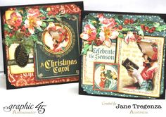 These cards have beautiful pop-up scenes inside! By the amazing Jane Tregenza #graphic45