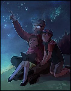 Ford showing the twins the stars constellation and their names, Ford appreciates every second*