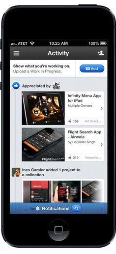 Behance Official iPhone App 2.0 by Clément Faydi, via Behance