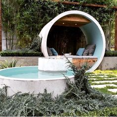 Outdoors Discover outdoor home concrete pool and sitting area - Garten ideen 2019 Backyard Sitting Areas Small Backyard Pools Small Pools Small Patio Above Ground Pool In Ground Pools Piscine Diy Stock Tank Pool Beton Design