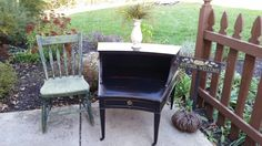 Black Antique Shabby Chic Leather Top Table