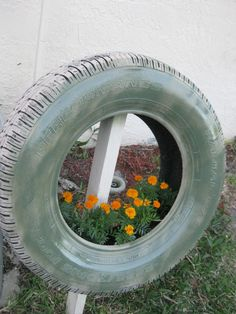 recycled tyre garden