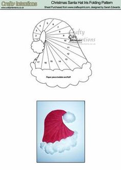 Christmas Santa Hat Iris Folding Pattern on Craftsuprint designed by Sarah Edwards - Christmas Santa Hat Iris Folding Pattern. I used cotton wool on the example card to really make it realistic, and it gives a 3D dimension to the card. - Now available for download!