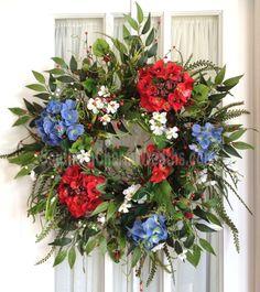 July 4th Summer Door Wreath Red White Blue Hydrangeas Silk Floral Wreath