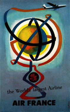 Jacques Nathan-Garamond #Illustration - Air France travel poster. From Graphis Annual 57/58.