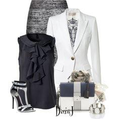 Jouez sur les différents tons monochrome pour créer un ensemble harmonieux! #business #look #office #outfit #grey #white #blazer