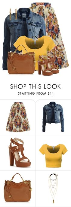 """Denim jacket/floral skirt"" by ginga1203 ❤ liked on Polyvore featuring ZAK, Object Collectors Item, Michael Kors, H&M and Lanvin"