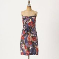 5e37374e1 Moulinette Soeurs Silk Watercolor Cocktail Dress Anthropologie Clothing,  Silk Slip, Purple Dress, Winter