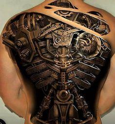 Steampunk full back tattoo - 25 Awesome Steampunk tattoo designs 3d Tattoos For Men, Best 3d Tattoos, Tattoos 3d, Back Tattoos For Guys, Full Back Tattoos, Neue Tattoos, Badass Tattoos, Trendy Tattoos, Body Art Tattoos