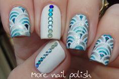 Blue arches with Swarvoski crystals ~ More Nail Polish