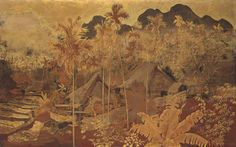 Nguyen Gia Tri's Village scene in Vietnam, Lacquer painting, ($102,697 - $121,952) Christie's Auction