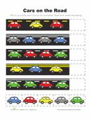 Find the patterns in these cars! Start by cutting out the cars at the bottom of the page. Then arrange them to finish each pattern.