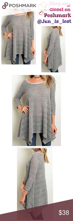 Asymmetrical Gray Knit Tunic  Large Asymmetrical Gray Knit Tunic   3/4 SLEEVE ROUND NECK ASYMMETRICAL HEM KNIT TUNIC Gray.  Fabric Content: 92% POLYESTER 8% SPANDEX.  Fit is for women's sizes Small = 2-4, Medium = 6-8, Large = 10-12. 🚫TRADES🚫 ✅Reasonable Offers Are Considered✅ Use the blue offer button. Tops Tunics