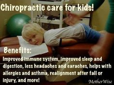 Chiropractic is good for your children. It helps them think better, boost their immune system, reduces stress and anxiety and improves behavior.