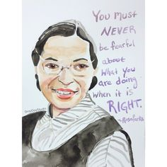 Rosa Parks, portrait and inspiring quote