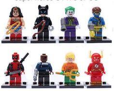 SUPER HERO & VILLAINS 8pc Minifigure WONDER WOMAN Joker DEADPOOL Flash DC MARVEL #New