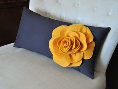Mustard Rose on Charcoal Gray Lumbar Pillow -Decorative Pillow-. $24.00, via Etsy.