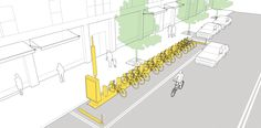 Bike corrals explained and illustrated in the NACTO Urban Street Design Guide. Click image for details & visit our popular Streets for Everyone board >> http://www.pinterest.com/slowottawa/streets-for-everyone/