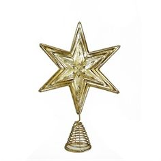 "16"" Luxury Lodge Gold and Silver Foiled Cut-Out Star Christmas Tree Topper - Unlit"