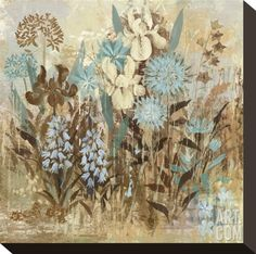 Floral Frenzy Blue II Stretched Canvas Print by Alan Hopfensperger at Art.com