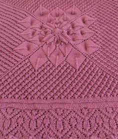 Free Knitting Pattern for Floralized Throw - Lace square afghan knit in the round with floral motif in the center. Two sizes available, large and extra large. Designed by Cheri McEwen Pictured project by Andicka