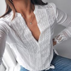 lovely lace details via in our Bali Daydream lace top ✨ (shop link in bio) Elisa Cavaletti, Inspiration Mode, White Shirts, Lace Tops, Fashion Outfits, Womens Fashion, White Tops, Blouse Designs, Shirt Blouses