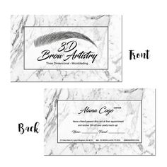 Pre-Made Modern Gray and White Marble Microblading Business Beauty Salon Eyebrow Permanent Makeup Technician Cosmetologist Business Cards