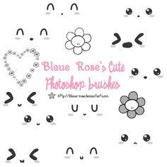 Blaue Rose's Cute Brushes 1 by Blaue-Rose on deviantART Kawaii Faces, Kawaii Art, Drawing Tips, Drawing Stuff, Overlays, Digital Art, Creations, Doodles, Photoshop