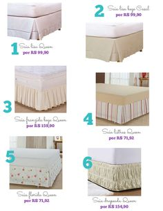 Types of Box Skirts- Tipos de saias para cama box bed skirt box - Linen Bedroom, Bedroom Decor, Bed Cover Design, Designer Bed Sheets, Diy Bett, Box Bed, Bed Curtains, Types Of Beds, House Beds
