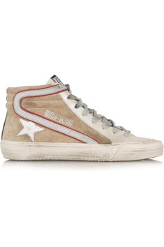 Golden Goose Deluxe Brand | Slide distressed leather and suede high-top sneakers | NET-A-PORTER.COM