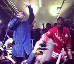 Watch #KanyeWest and #Drake rap each other's songs at a Toronto afterparty.