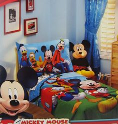 $12.99 Sheet Fitted Size TODDLER Mickey Mouse Clubhouse Disney BLUE Boy Girl Kids #Disney