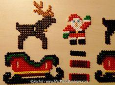 Bricolage enfant : Père Noël, traineau et rennes en perles Hama à souder
