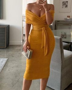 Solid Yellow Off Shoulder Wrap Dress Women Ruched Designed Sashes Midi Dress Slim Fit Sexy Party Dresses Robe Femme, Yellow / XL Classy Dress, Classy Outfits, Cute Outfits, Classy Chic, Elegant Chic, Casual Outfits, Elegant Dresses, Casual Dresses, Pretty Dresses